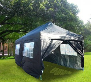 3m x 6m Pyramid Roof Pop Up Gazebo - Black