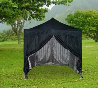 2.5m x 2.5m Pyramid Roof Pop Up Gazebo - Black