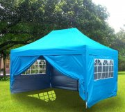 3m x 4.5m Pyramid Roof Pop Up Gazebo - Light Blue