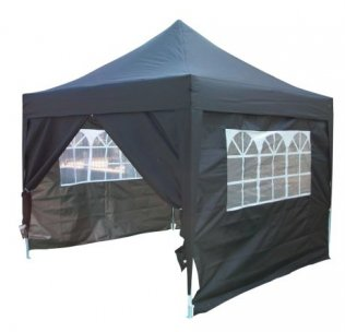 3m x 3m Pyramid Roof Pop Up Gazebo - Black