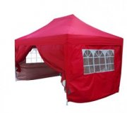3m x 4.5m Pyramid Roof Pop Up Gazebo - Red