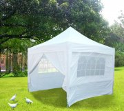 3m x 3m Pyramid Roof Pop Up Gazebo - White