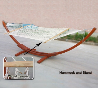 Arched Pine Hammock With Double Cotton Rope