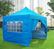 3m x 3m Pyramid Roof Pop Up Gazebo - Light Blue