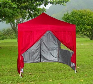 2.5m x 2.5m Pyramid Roof Pop Up Gazebo - Red
