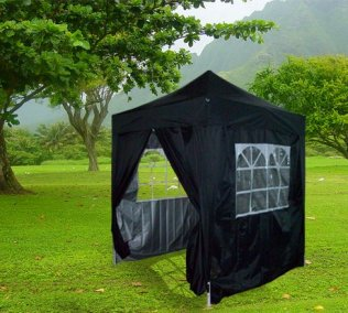 2m x 2m Pyramid Roof Pop Up Gazebo - Black
