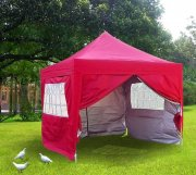 3m x 3m Pyramid Roof Pop Up Gazebo - Red
