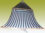 Comfortable Blue & White Quilted Fabric Hammock with Pillow
