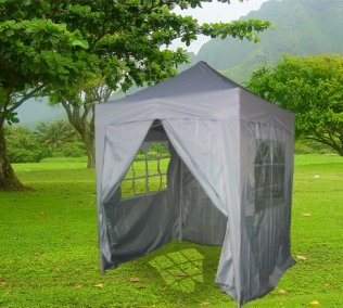 2m x 2m Pyramid Roof Pop Up Gazebo - Silvery