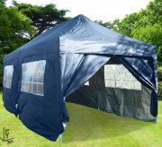 3m x 6m Pyramid Roof Pop Up Gazebo - Navy Blue