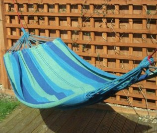 Beautiful Color Stripes Fabric Hammock - blue