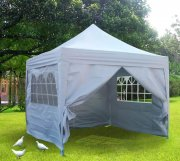3m x 3m Pyramid Roof Pop Up Gazebo - Silvery