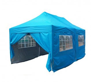 3m x 6m Pyramid Roof Pop Up Gazebo - Light Blue