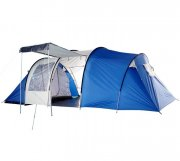 6 Man 3 Room Family Camping Tent - Blue/Grey