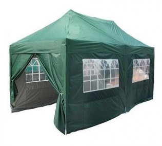 3m x 6m Pyramid Roof Pop Up Gazebo - Green