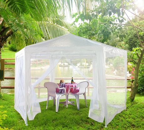2m hexagonal white gazebo with mesh quictent for Outdoor party tent decorating ideas