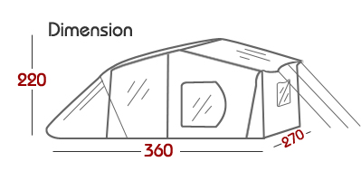 Dimension of 4-6 person cabin family camping tents