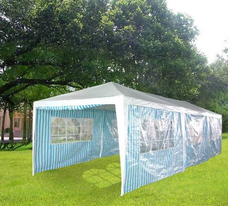 3m x 9m Party Tent Garden Marquee - White Blue
