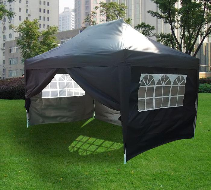 3m X 4 5m Pyramid Roof Pop Up Gazebo Black