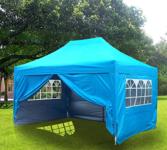 3m x 4.5m Blue Pyramid Roof Pop Up Gazebo