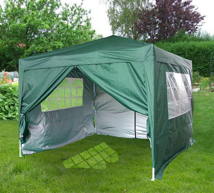 3m X 3m Flat Roof Pop Up Gazebo With Sides Green