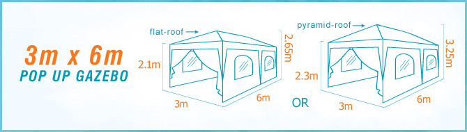 Quictent 3m x 6m pop up gazebo