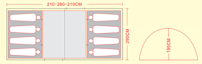 8 man large camping tent diagram