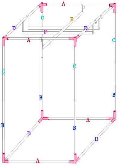 Frame structure of Quictent 0.6m x 1.2m grow tent