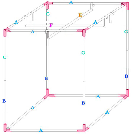 Frame structure of Quictent 1.2m x 1.2m grow tent